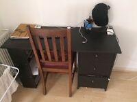 1 MALIBU DRAWER DESK BLACK from Argos with chair
