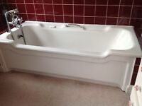 1960s Vintage Cast Iron Bath with matching Side Panel + Tap Fittings