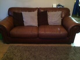 Brown Leather Sofas 2 + 4