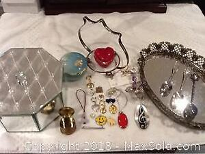 Jewellery Box, Tray And Contents And More