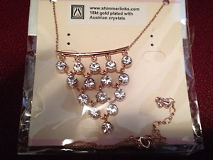 Necklace 18kt Gold Plated w/ Austrain Crystals Rose Gold Colored