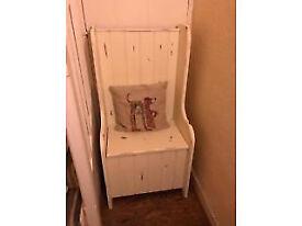 solid oak Chair storage pew style