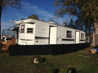 Lakefront Campsite with Big Trailer and Deck