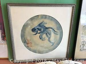 Antique Chinese iron teapot, very fine Chinese antique silk and signed watercolour framed painting along with Catalogue