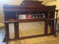 Mirrored overmantle in lovely condition