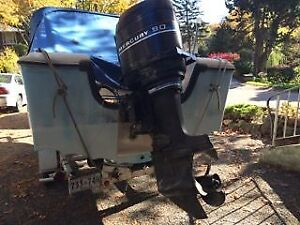 16 foot fiberglass boat with 90 HP mercury outboard motor