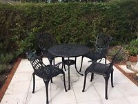 Antique Bronze 4 Chair and Table Furniture Set