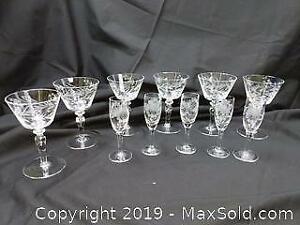 Antique Crystal Glass Sets Including Cornflower Pattern