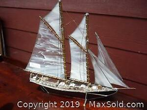 Handmade copper and stained glass model schooner. -A