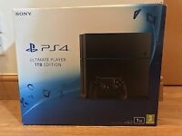 PS4 1TB with two controllers (black)