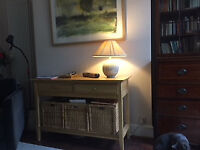 Lovely oak consol table, plate glass lower shelf, John Lewis 'Esprit', perfect condition
