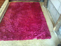 thick pink shaggy rug