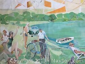 Large, mural sized leisure scene, oil on canvas, signed Middleton, 1966