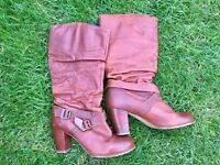 Red-or-Dead Spanish leather boots with mid heal size 6 / 39