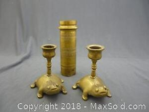 Pair of Frog Candle Holders & Another Brass Item -A