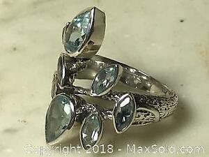 4.80 ct Natural Blue Topaz Ring with COA