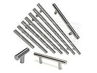 12 Brushed Stainless Steel T-Bar Kitchen Door Handles for furniture cupboards/drawers