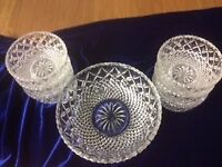 Cut Glass Bowl and 6 Dessert Bowls all in perfect condition