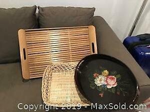 Wood, Bamboo & Wicker Serving Trays - A