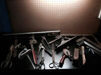 Old Hand tools, saws & metal brackets