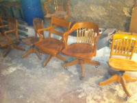 10 old oak office chairs