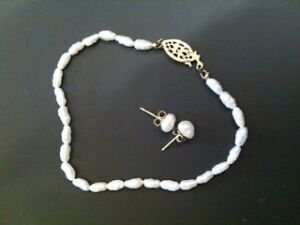 Seed Pearl and Gold Bracelet and Earrings