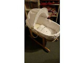 **BARGAIN BASKET** neutral grey/white moses basket with pine rocking stand - only used at nana's