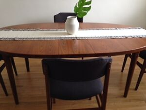 Vintage Mid-Century Teak Dining Table and Chairs