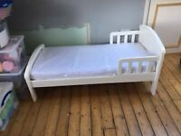 Wooden White Toddler Bed with mattress