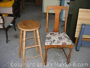 Antique Oak Side Chair and Maple Stool A