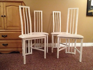 dinning chairs and white chair