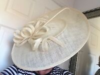 Cream sinamay fascinator hat, brand new