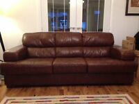 SOFA-TWO LARGE 3 SEATERS-BROWN LEATHER