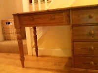 Pine desk / dressing table for sale one side has drawers and its a nice colour not orange pine!