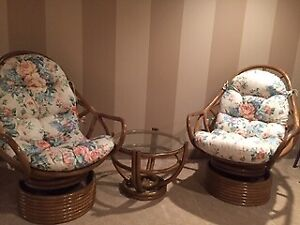 2 Rattan Chairs/Table & Footstool Set in as new condition