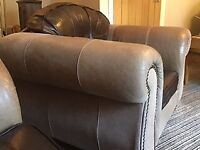 Leather three seater sofa, single chair and matching foot stool