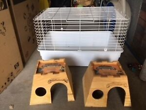 Small pet Cage with Two Wooden Shelter Houses