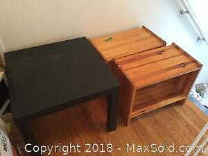 IKEA Table and Pair of Wooden Side Stands B