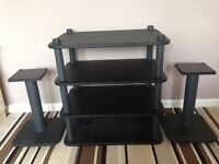 Alphason four tier hi fi rack and speaker stands.