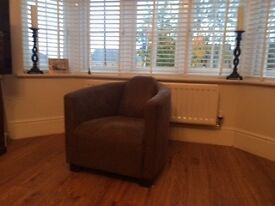 Single seat leather tub armchair for sale