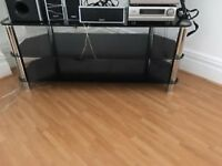 """classy TV stand in chrome and 3 smoked glass shelves - large enough for 55 """" tv"""