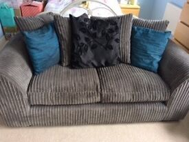 Grey Fabric Pillow Back Two Seater Sofa