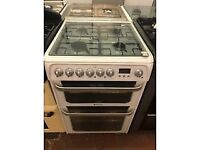 60CM WHITE HOTPOINT DUEL FUEL WITH LID GAS COOKER