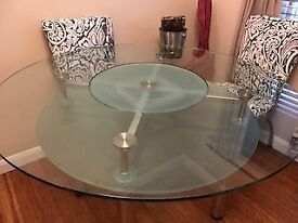 Glass Diing Table with Lazy Susan