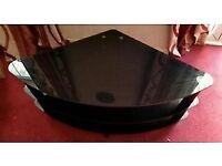 3 tier beautiful & sturdy tampered glass corner TV stand - Dark brown