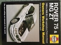 Rover 75 and MG ZT Haynes manual 1999 to 2006