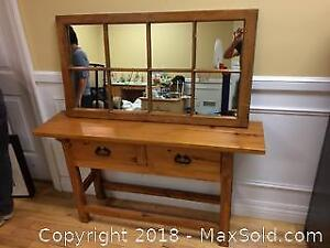 Wood Side Table and matching mirror - Pine - Custom Made