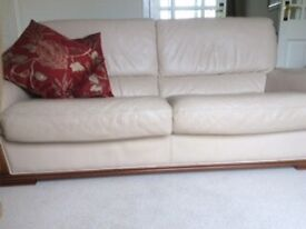 SOLD Leather Sofa, chair and footstool