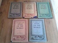 Vintage The Times Atlas Of The World Set of Five Volumes 1955-1959 Bartholomew F