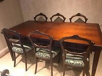 Antique newly upholstered dining chairs - mahogany